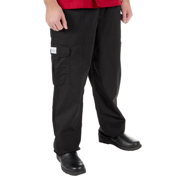 "Mercer Culinary M61090BK4X Genesis Unisex 52"" 4X Black Poly-Cotton Cargo Pants"