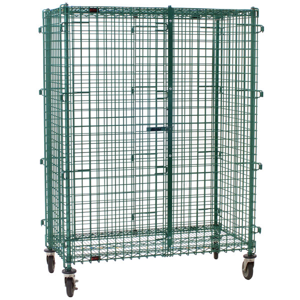 "Eagle Group CSC2448E Mobile Green Epoxy Security Cage - 27 1/4"" x 51 1/4"" x 69"" Main Image 1"