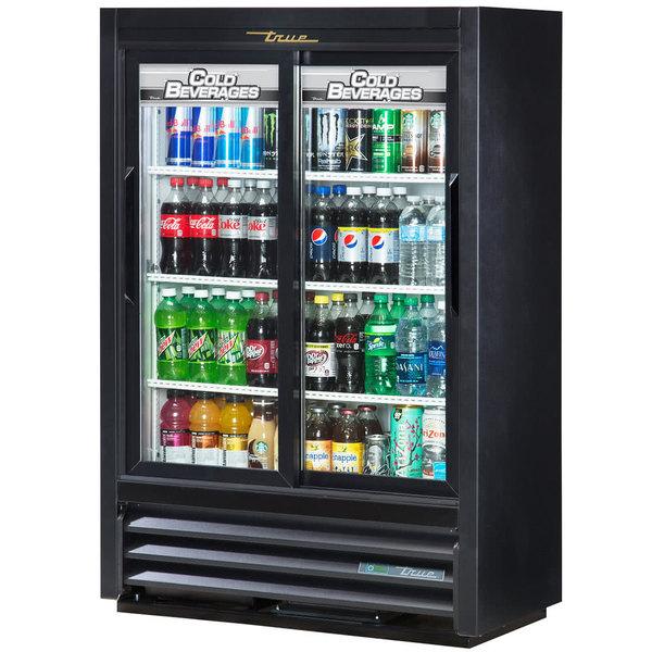 True GDM-33SSL-56-HC-LD 36 inch Black Narrow Depth Sliding Glass Door Convenience Store Merchandiser Refrigerator - Low Profile