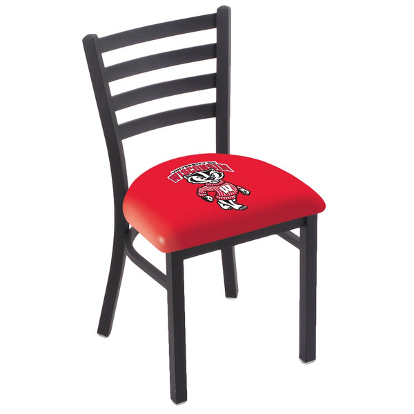 Holland Bar Stool L00418WI-Bdg Black Steel University of Wisconsin Chair with Ladder Back and Padded Seat