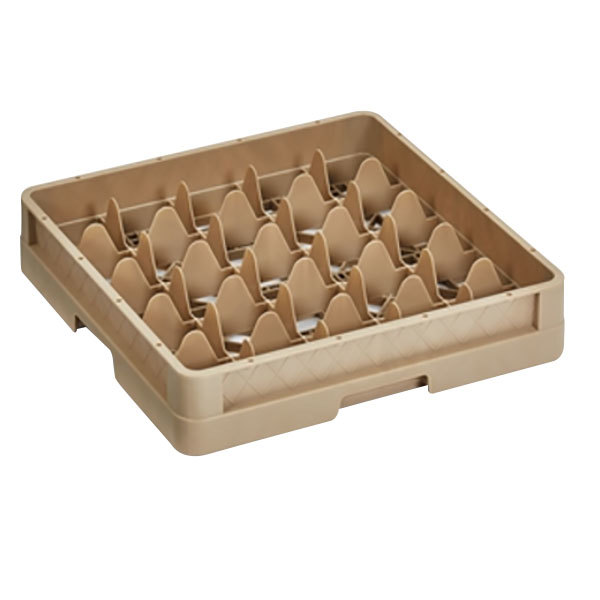 """Vollrath CR6BBB Traex® 25 Compartment Beige Full-Size Closed Wall 7 7/8"""" Glass Rack with 3 Extenders"""