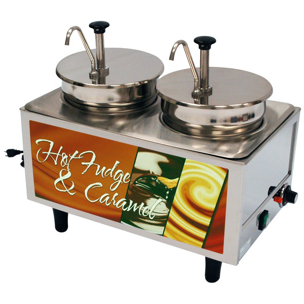 Benchmark USA 51074H Dual 7 Qt. Hot Fudge and Caramel Warmer with Pumps - 120V, 1200W
