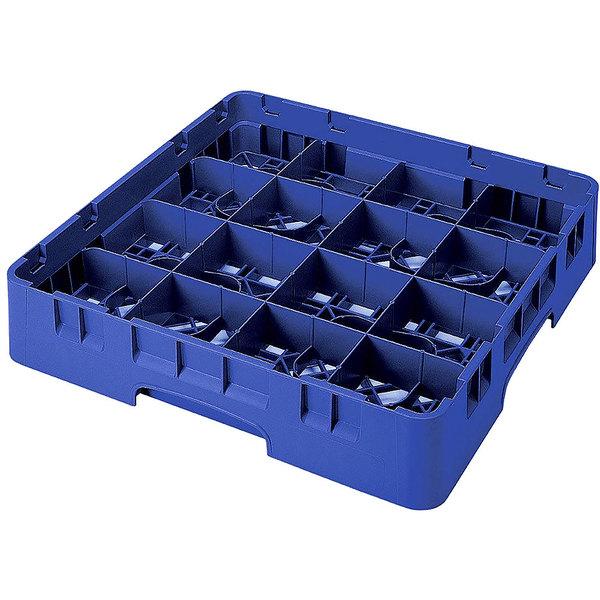 "Cambro 16S418-186 Camrack 4 1/2"" High Customizable Navy Blue 16 Compartment Glass Rack"