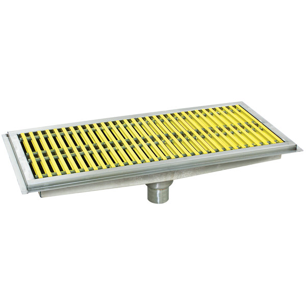 """Eagle Group FT-2436-FG 24"""" x 36"""" Floor Trough with Yellow Fiberglass Grating"""