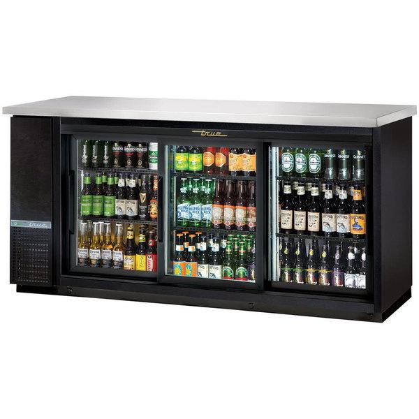 True TBB-24-72G-SD-HC-LD 73 inch Sliding Glass Door Narrow Back Bar Refrigerator with LED Lighting