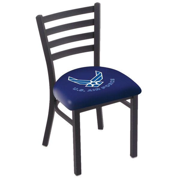 Holland Bar Stool L00418AirFor Black Steel United States Air Force Chair with Ladder Back and Padded Seat