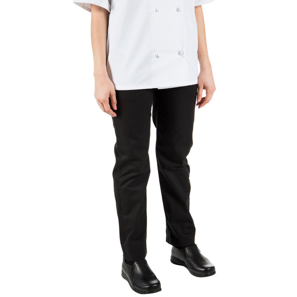 """Mercer Culinary M62120BKL Renaissance Women's 28"""" L Black Poly-Cotton Pleated Chef Trousers"""