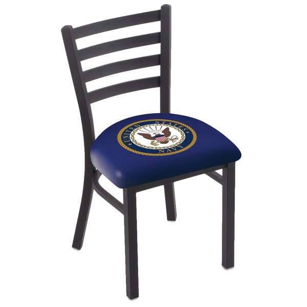 Holland Bar Stool L00418Navy Black Steel United States Navy Chair with Ladder Back and Padded Seat Main Image 1