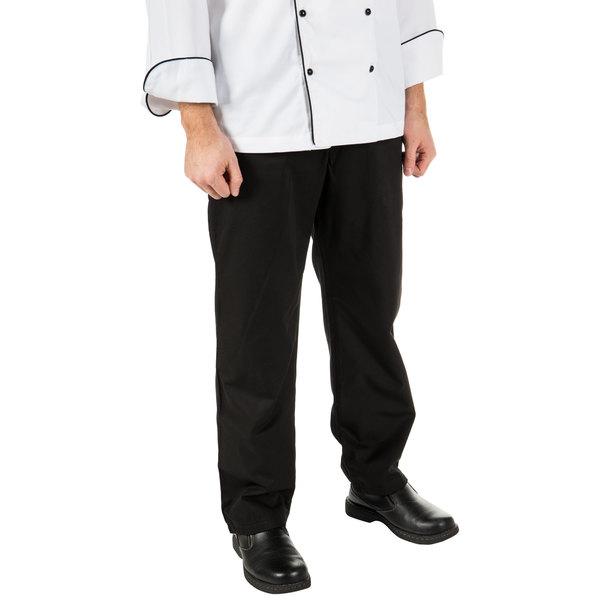 "Mercer Culinary M62100BK1X Renaissance Men's 40"" 1X Black Poly-Cotton Pleated Chef Trousers"