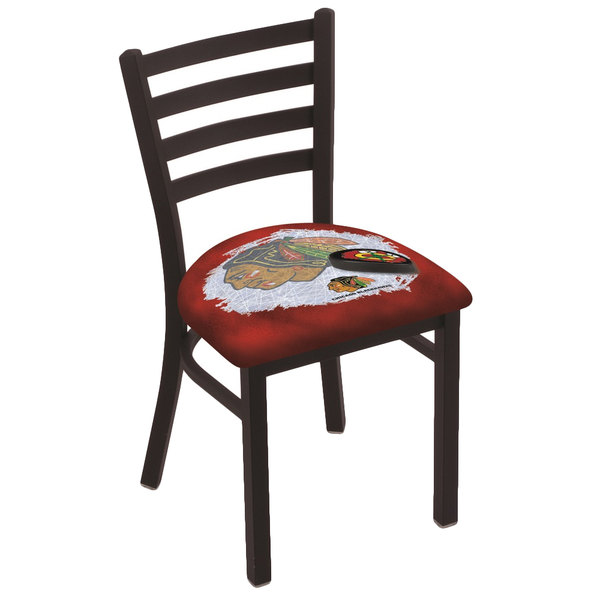 Holland Bar Stool L00418ChiHwk-R-D2 Black Steel Chicago Blackhawks Chair with Ladder Back and Padded Seat