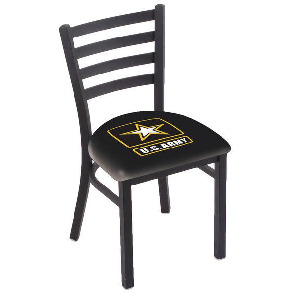 Holland Bar Stool L00418Army Black Steel United States Army Chair with Ladder Back and Padded Seat Main Image 1