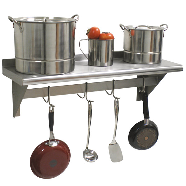 "Advance Tabco PS-12-36 Stainless Steel Wall Shelf with Pot Rack - 12"" x 36"""