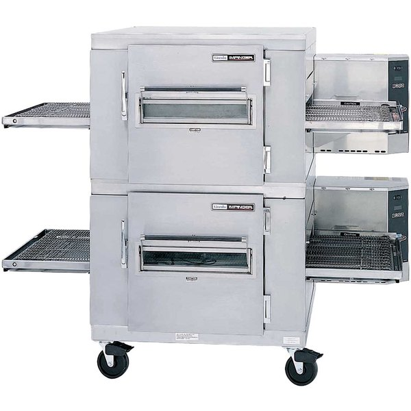 Lincoln Impinger I 1400 Series 1400-2/1400-FB2 Natural Gas FastBake Single Belt Double Conveyor Oven Package - 240,000 BTU Main Image 1