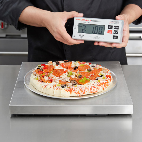 cardinal detecto pz60w 60 lb stainless steel pizza scale with