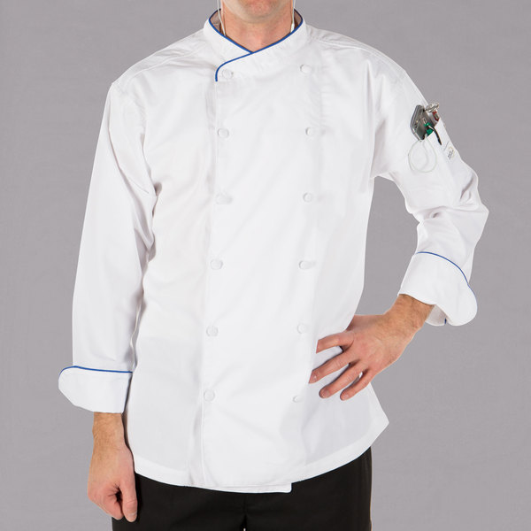 """Mercer Culinary M62020WRB3X Renaissance Men's 56"""" 3X Customizable White Double Breasted Scoop Neck Long Sleeve Chef Jacket with Royal Blue Piping"""