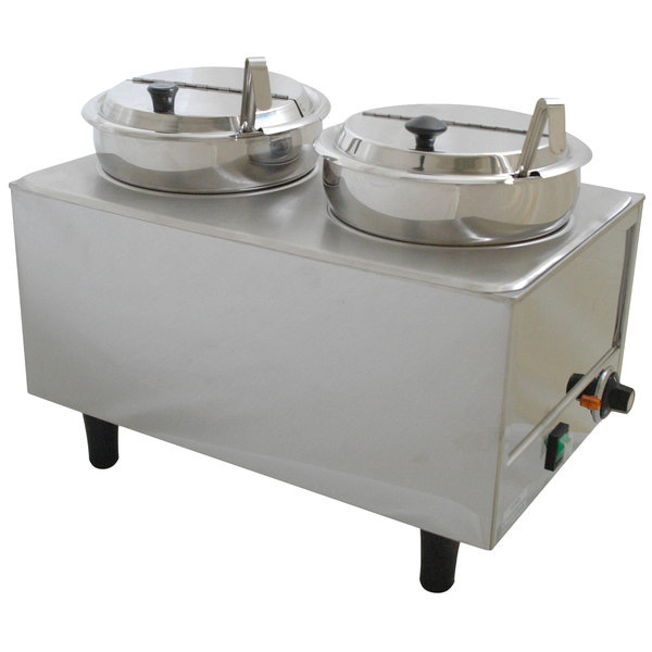 Benchmark USA 51072P Dual 7 Qt. Warmer with Ladles and Lids - 120V, 1200W Main Image 1