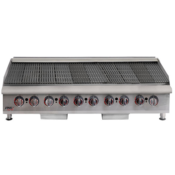 "APW Wyott HCRB-2460i Natural Gas 60"" HD Cookline Lava Rock Charbroiler - 200,000 BTU"