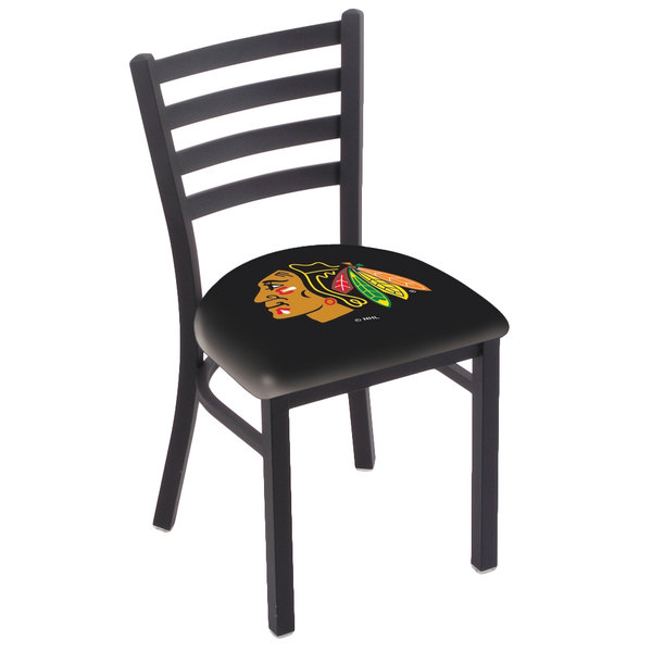 Holland Bar Stool L00418ChiHwk-B Black Steel Chicago Blackhawks Chair with Ladder Back and Padded Seat