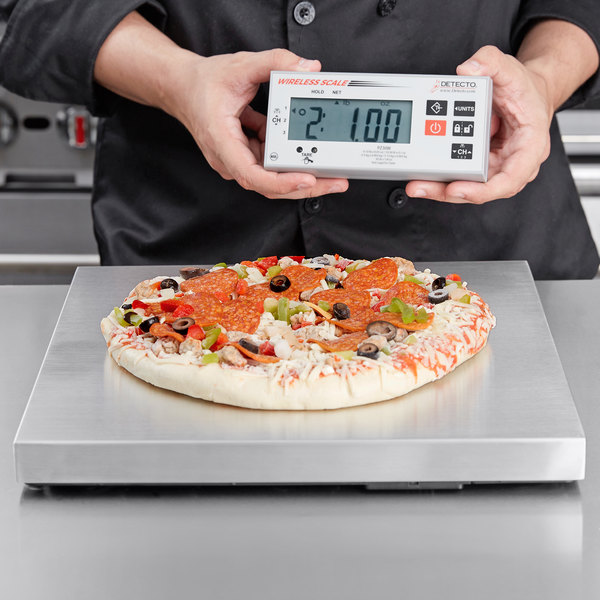 cardinal detecto pz30w 30 lb stainless steel pizza scale with