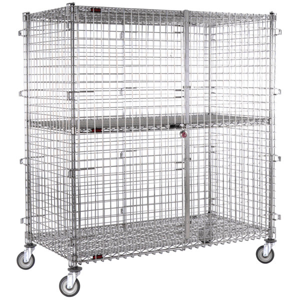 """Eagle Group CSC3060 Mobile Chrome Security Cage - 33 1/4"""" x 63 1/4"""" x 69"""" Main Image 1"""