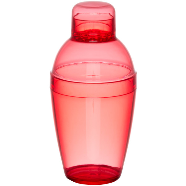 Fineline Quenchers 4102-RD 10 oz. Red Plastic Shaker - 24/Case Main Image 1