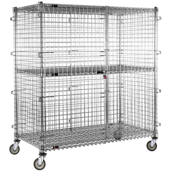 "Eagle Group CSC2460 Mobile Chrome Security Cage - 27 1/4"" x 63 1/4"" x 69"" Main Image 1"