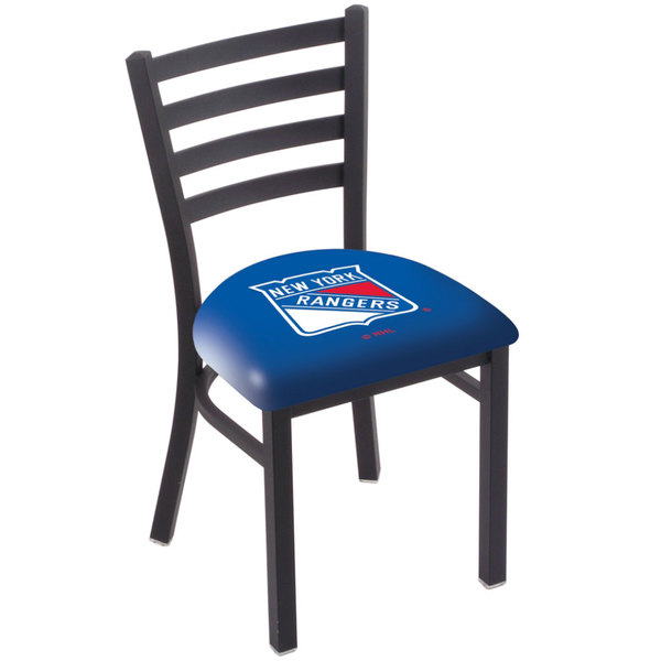 Holland Bar Stool L00418NYRang Black Steel New York Rangers Chair with Ladder Back and Padded Seat Main Image 1