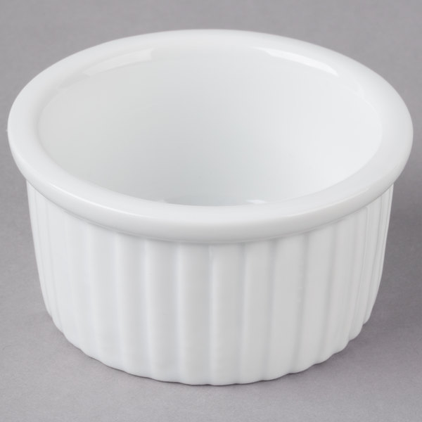 Acopa 2.5 oz. Bright White Fluted China Ramekin - 48/Case
