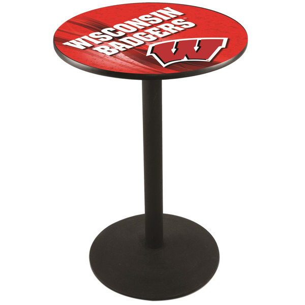 "Holland Bar Stool L214B3628WISC-W-D2 28"" Round University of Wisconsin Pub Table with Round Base"