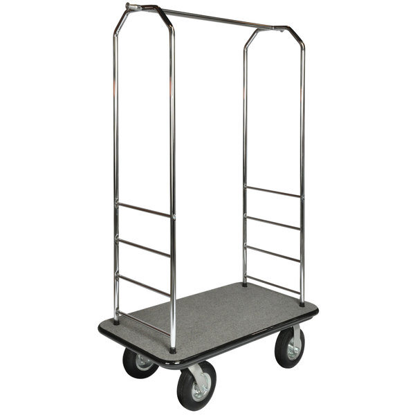 "CSL 2099GY-080 43"" x 23"" x 72 1/2"" Easy-Mover Stainless Steel Series Gray Carpeted Luggage Cart with 8"" Black Semi-Pneumatic Casters"