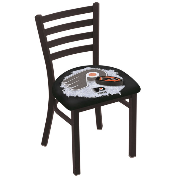 Holland Bar Stool L00418PhiFly-B-D2 Black Steel Philadelphia Flyers Chair with Ladder Back and Padded Seat