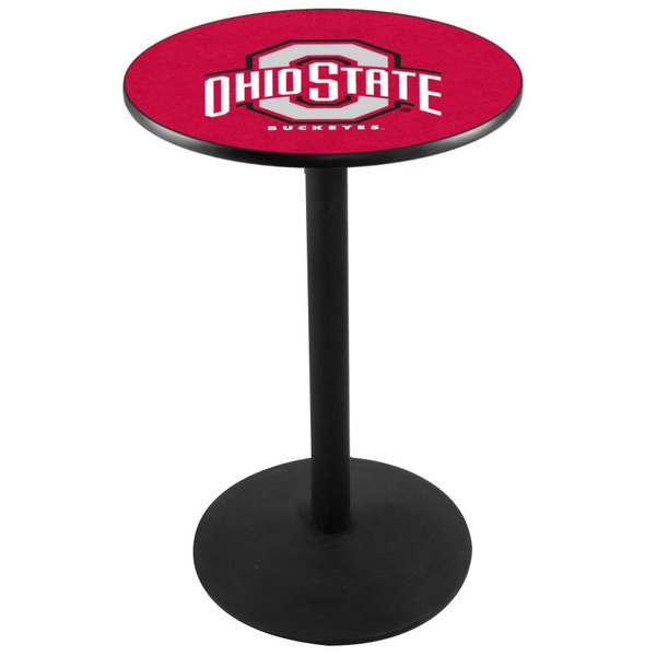 """Holland Bar Stool L214B3628OHIOST 28"""" Round Ohio State University Pub Table with Round Base"""