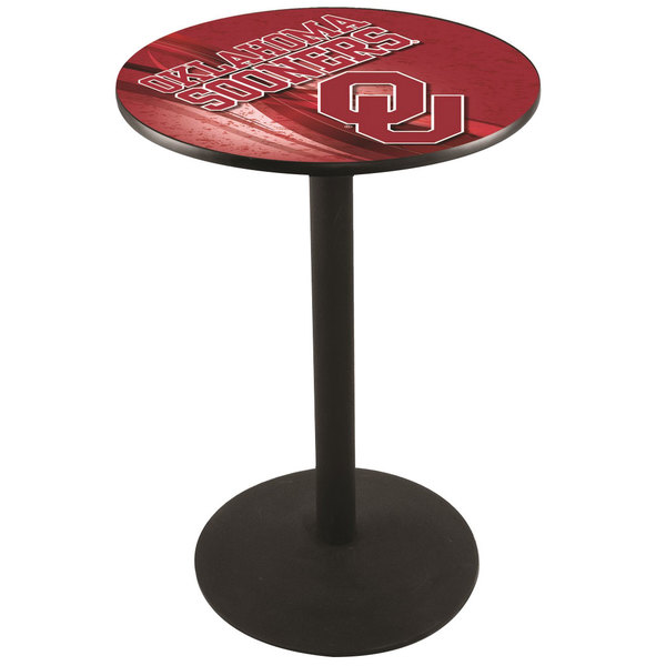 "Holland Bar Stool L214B3628OKLHMA-D2 28"" Round University of Oklahoma Pub Table with Round Base"