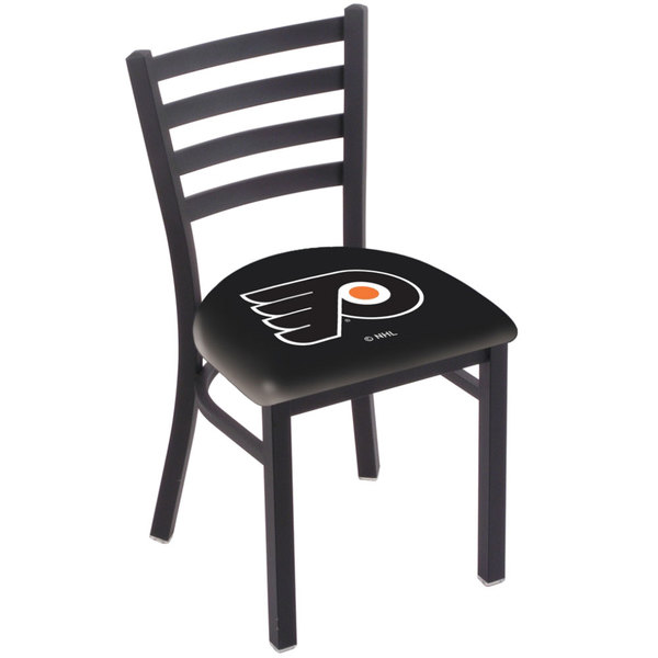 Holland Bar Stool L00418PhiFly-B Black Steel Philadelphia Flyers Chair with Ladder Back and Padded Seat Main Image 1