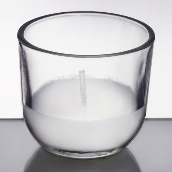 Sterno 40110 PetiteLites 5 Hour Clear Wax Filled Glass Candle - 24/Pack