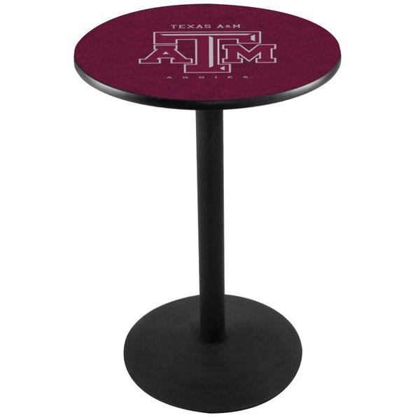 "Holland Bar Stool L214B3628TEXA-M 28"" Round Texas A&M Pub Table with Round Base Main Image 1"