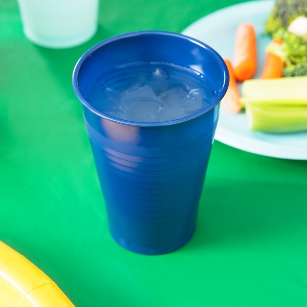 Creative Converting 28113771 12 oz. Navy Blue Plastic Cup - 240/Case Main Image 2