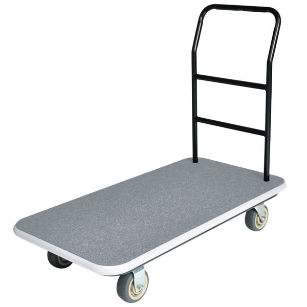 "CSL 2100GY-090-GRY 37"" x 43"" x 22"" Gray Carpet General Purpose Utility Cart with 5"" Polyurethane Casters"
