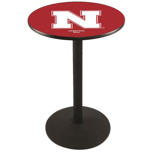 "Holland Bar Stool L214B3628NEBRUN 28"" Round University of Nebraska Pub Table with Round Base"