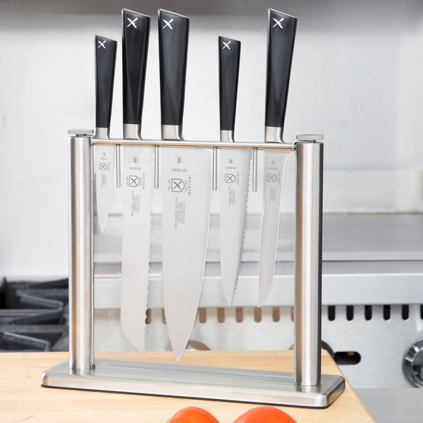 Mercer Culinary M19100 ZüM 6-Piece Stainless Steel and Glass Knife Block Set