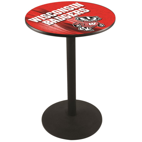 "Holland Bar Stool L214B3628WI-BDG-D2 28"" Round University of Wisconsin Pub Table with Round Base"