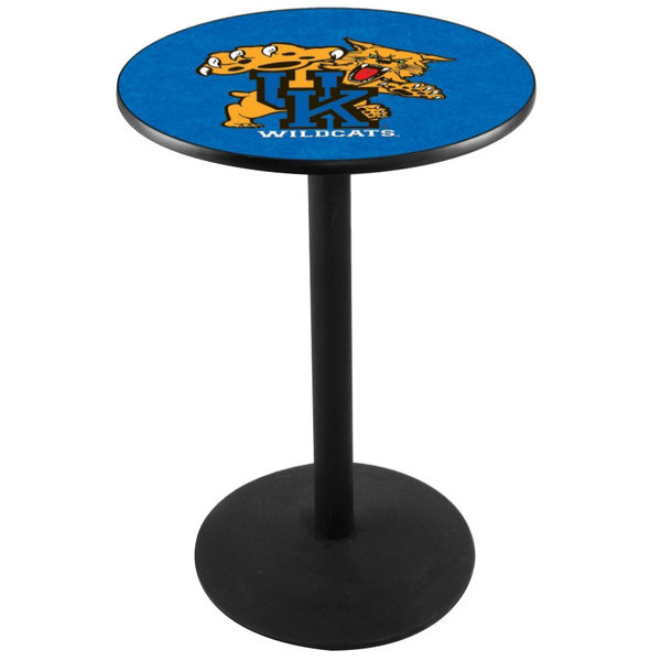 "Holland Bar Stool L214B3628UKYCAT 28"" Round University of Kentucky Pub Table with Round Base"