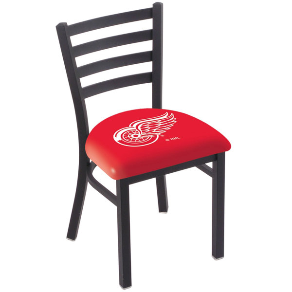 Holland Bar Stool L00418DetRed Black Steel Detroit Red Wings Chair with Ladder Back and Padded Seat