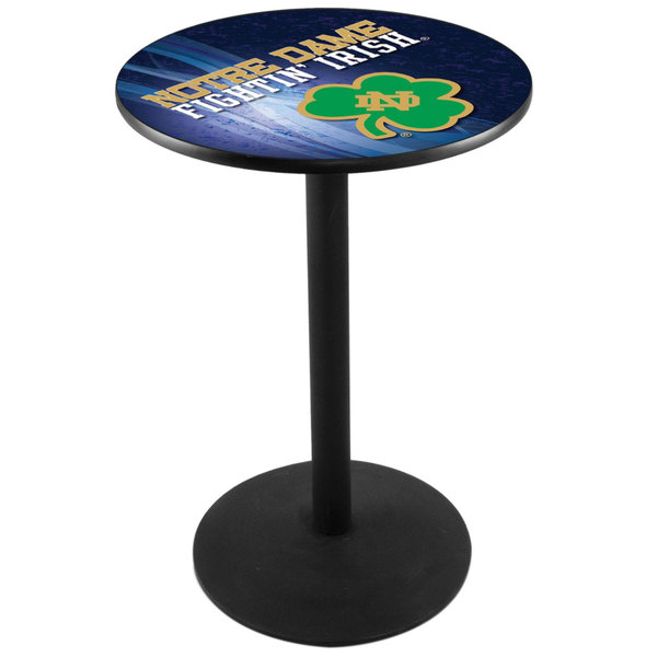 "Holland Bar Stool L214B3628ND-SHM-D2 28"" Round Notre Dame Pub Table with Round Base Main Image 1"