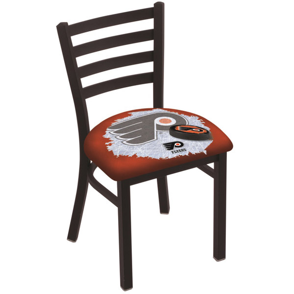 Holland Bar Stool L00418PhiFly-O-D2 Black Steel Philadelphia Flyers Chair with Ladder Back and Padded Seat