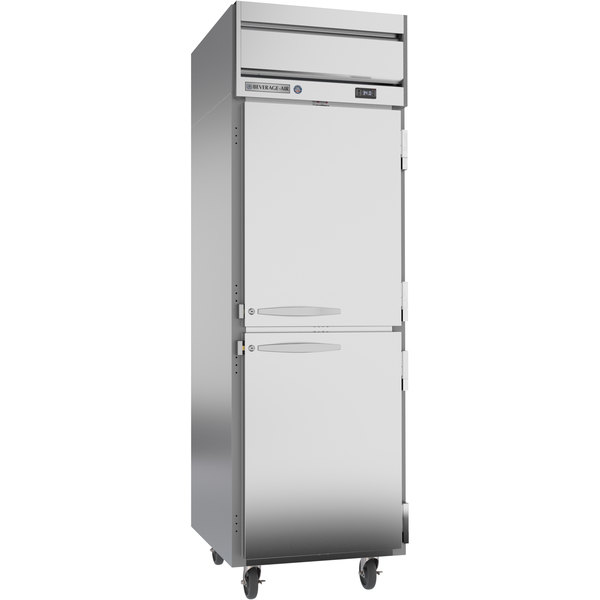 """Beverage-Air HRS1-1HS Horizon Series 26"""" Solid Half Door Reach-In Refrigerator with Stainless Steel Interior Main Image 1"""