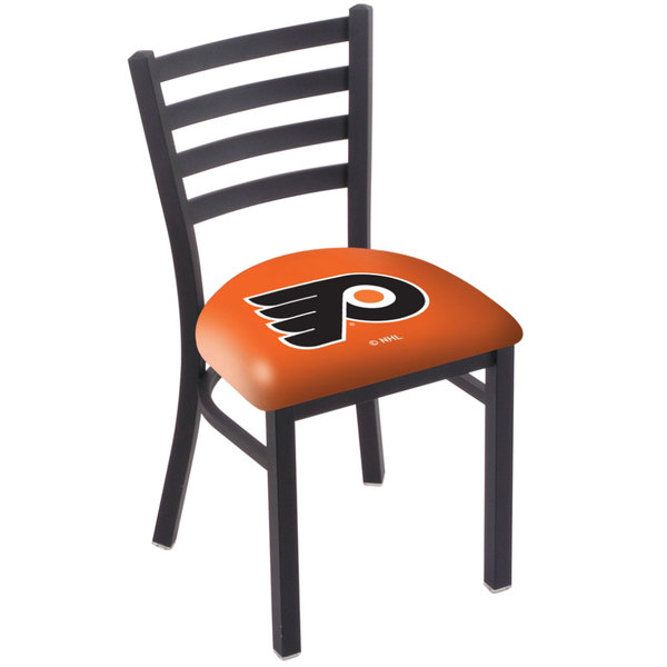 Holland Bar Stool L00418PhiFly-O Black Steel Philadelphia Flyers Chair with Ladder Back and Padded Seat Main Image 1