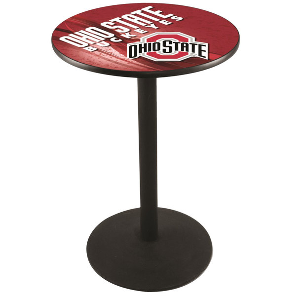 "Holland Bar Stool L214B3628OHIOST-D2 28"" Round Ohio State University Pub Table with Round Base Main Image 1"