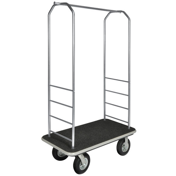 """CSL 2099BK-080 43"""" x 23"""" x 72 1/2"""" Easy-Mover Stainless Steel Series Black Carpeted Luggage Cart with 8"""" Black Semi-Pneumatic Casters"""