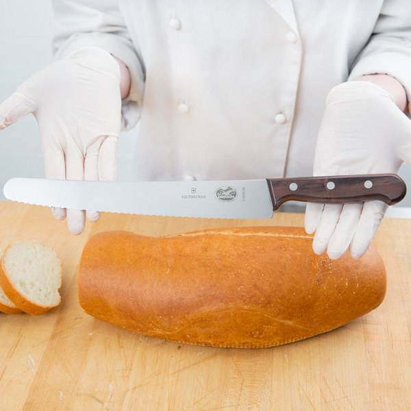 """Victorinox 40040 10 1/4"""" Serrated Edge Bread Knife with Rosewood Handle"""